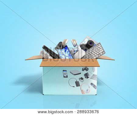 Concept Of Product Categories Small Consumer Electronics In The Box On Blue Background