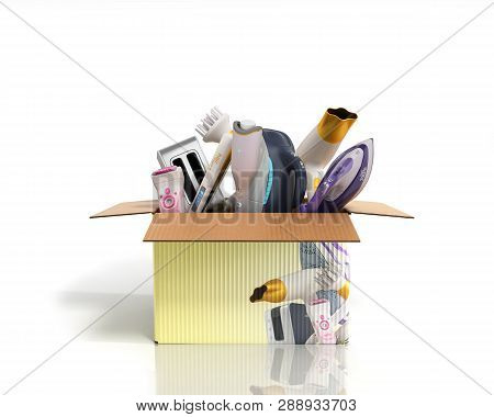 Concept Of Product Categories Small Household Appliances In The Box On White Background