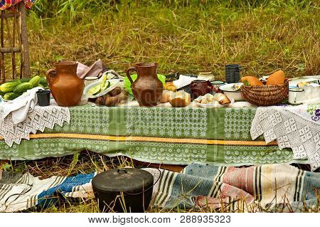 Lunch On Haymaking. Closeup. Natural Products, Recreation. Russian Village