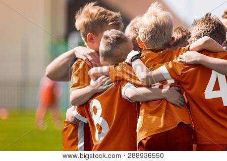 Boys Soccer Football Team Huddle. Children Play Sports Game. Kids Sporty Team United Ready To Play G