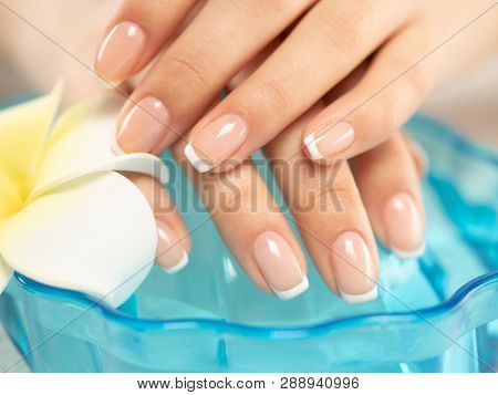 Woman gets manicure procedure in a spa salon. Beautiful female hands. Hand care. Woman cares for the nails on hands. Beauty treatment with skin of hand.   Woman's hands close-up view.