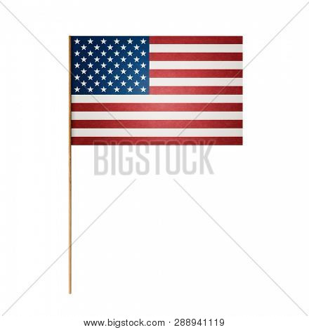 Paper American flag on wooden stick isolated on white background, including clipping path