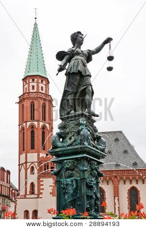Fountine With Lady Justice Statue In Frankfurt