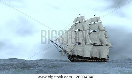 ship in stormy ocean