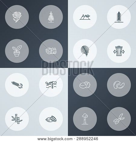 World Icons Line Style Set With Water Pollution, Pecan, Bamboo And Other Trashcan Elements. Isolated