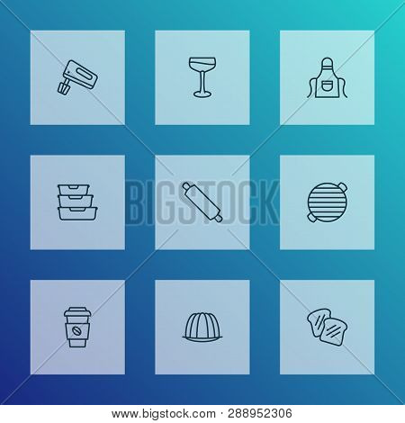 Culinary Icons Line Style Set With Bbq, Rolling Pin, Apron And Other Decaf Elements. Isolated Vector