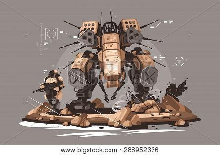 Drone Escort Infantry Vector Illustration. Military Army