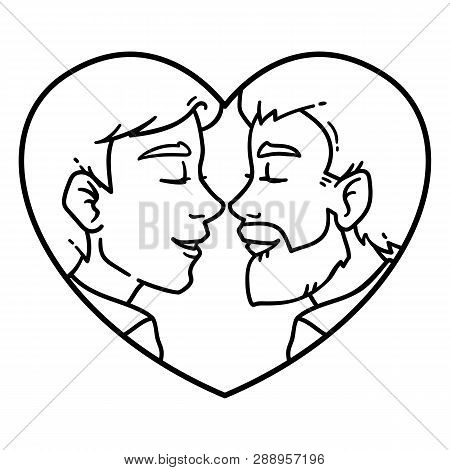 Gay Couple Love. Isolated Lovely Homosexual Spouses On A White Background. Equality In Rights Illust