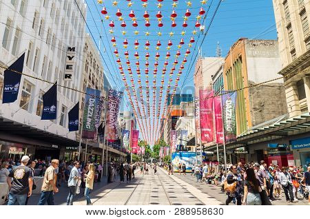 Melbourne, Australia - December 23, 2018: Christmas Decoarations In Bourke Street Mall, The Major Sh