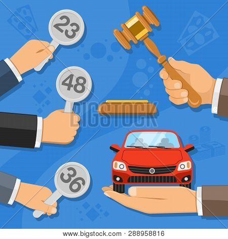 Auction And Bidding Concept. Auctioneer Holding Gavel In Hand, And Buyers Holding In Hand Bids. Sale