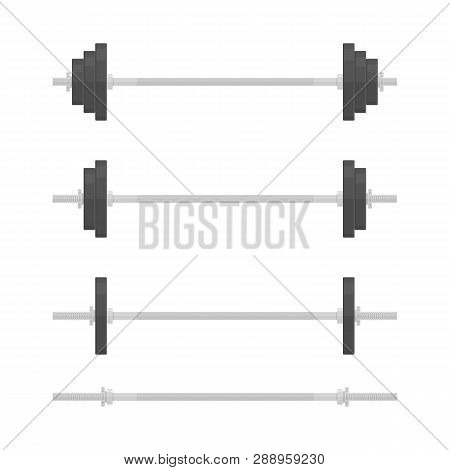 Barbells With Different Weights, In Flat Style. Barbell Icon Isolated On White Background. Gym, Fitn