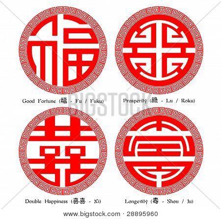 chinesische Schriftzeichen Fu Lu Shou XI (Glück, Wohlstand, Langlebigkeit, double Happiness) mit decorat