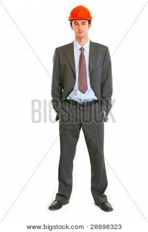 Full Length Portrait Of Serious Architect