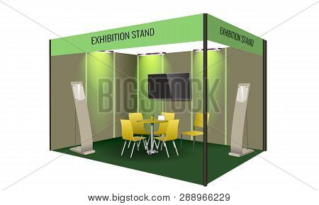 Exhibition Stand Display Design With Table And Chair, Info Board. Commercial Exhibition Booth Templa
