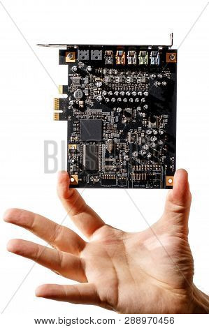 Pci Express Card For Computer In Hand, Audio Chip