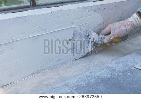 Plastering The Walls With Plaster, Plastering The Walls With Plaster, The Construction Technician Is