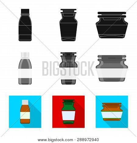 Isolated Object Of Retail And Healthcare Sign. Set Of Retail And Wellness Stock Vector Illustration.