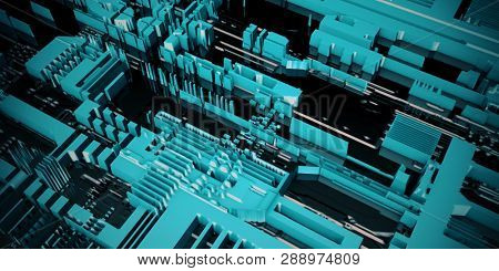 Electronic Circuit Board Futuristic Circuitry Abstract Background 3D Render