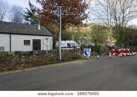Betw-y-coed, Uk. Feb 2, 2019. Barriers Surround Maintenance Works Outside A Bt Openreach Telephone E