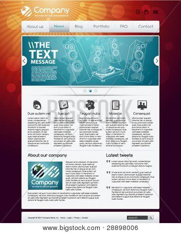 Website design template with modern navigation menu