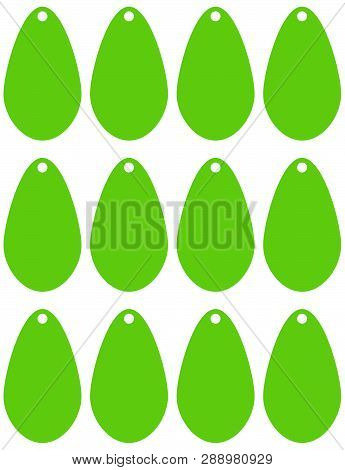Price Tags In For Printing Or Cutting. Decorative Colored Price Tags In Fresh Green With Oval Shape