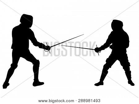 Athletes compete in fencing against a white background