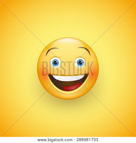 Smiling Face With Blue Eyes. Expression Of Joy, Laughter. Vector