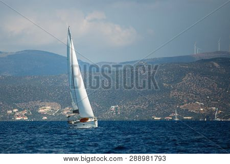 Greece sailing yacht boat at the Aegean Sea. Luxury cruise yachting.