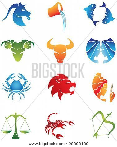 Logo-like Zodiac Star Signs isolated on a white background
