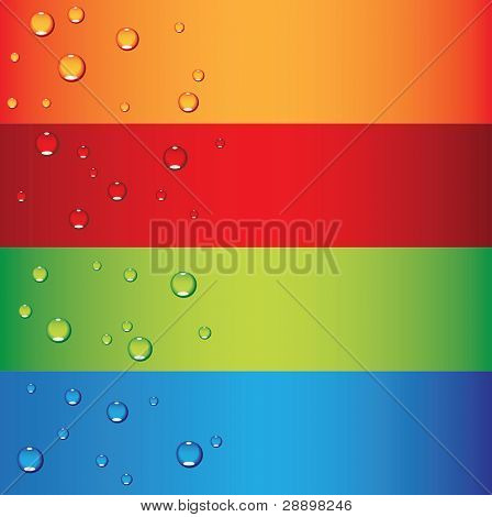 a set of colorful banners with dew drops