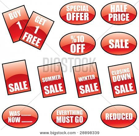 promotional sale labels and stickers set