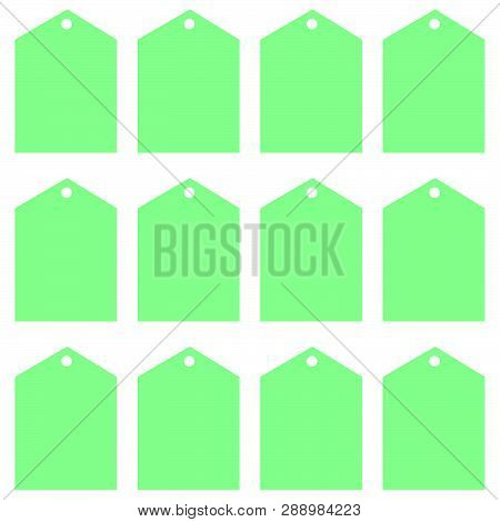 Price Tags In Green For Printing Or Cutting.  Decorative Price Tags In Fresh Mint Green Color For On