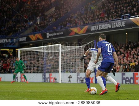 LONDON, ENGLAND - MARCH 7 2019: Davide Zappacosta of Chelsea during the Europa League match between Chelsea and Dynamo Kyiv at Stamford Bridge.
