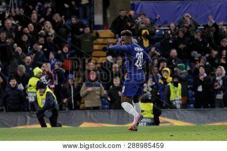 LONDON, ENGLAND - MARCH 7 2019: Callum Hudson-Odoi of Chelsea celebrates scoring a goal during the Europa League match between Chelsea and Dynamo Kyiv at Stamford Bridge.
