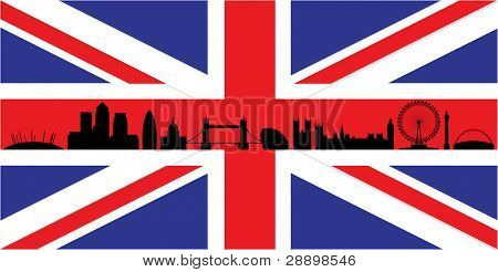 London skyline silhouette isolated on union jack flag