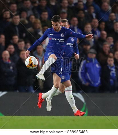 LONDON, ENGLAND - MARCH 7 2019: Jorginho of Chelsea  during the Europa League match between Chelsea and Dynamo Kyiv at Stamford Bridge.