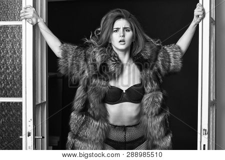 Fashion Lady Confident And Seductive. Woman Seductive Appearance. Confident In Her Magnetism. Woman