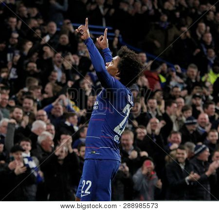 LONDON, ENGLAND - MARCH 7 2019: Willian of Chelsea celebrates scoring a goal during the Europa League match between Chelsea and Dynamo Kyiv at Stamford Bridge.