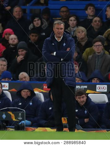 LONDON, ENGLAND - MARCH 7 2019: Alyaksandr Khatskevich manager of Dynamo Kiev  during the Europa League match between Chelsea and Dynamo Kyiv at Stamford Bridge.