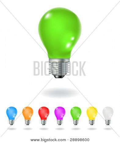 colourful light bulbs isolated on a white background