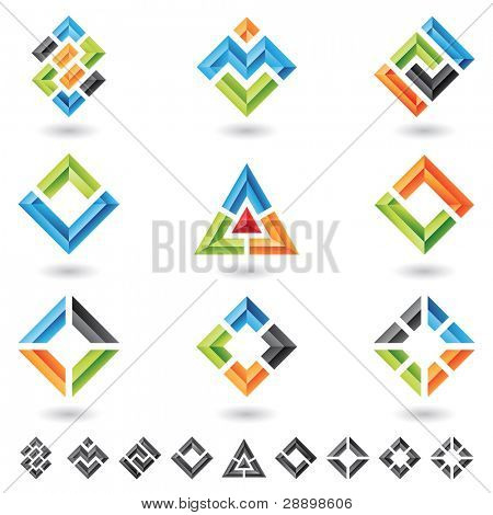 3d squares, rectangles, triangles and various geometrical shapes poster