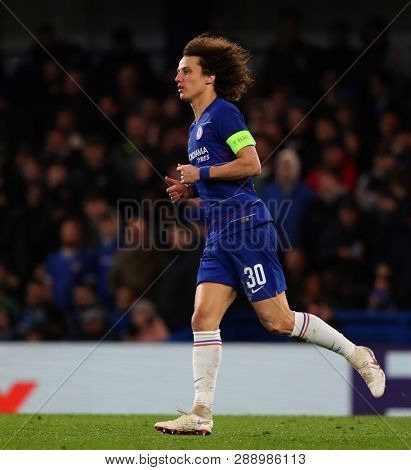 LONDON, ENGLAND - MARCH 7 2019:  David Luiz of Chelseaduring the Europa League match between Chelsea and Dynamo Kyiv at Stamford Bridge.