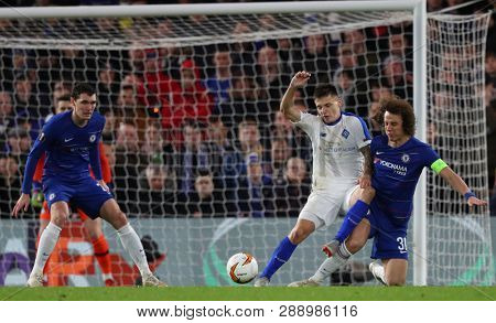 LONDON, ENGLAND - MARCH 7 2019: David Luiz of Chelsea defending  during the Europa League match between Chelsea and Dynamo Kyiv at Stamford Bridge.