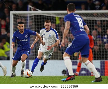 LONDON, ENGLAND - MARCH 7 2019: Pedro of Chelsea runs with the ball during the Europa League match between Chelsea and Dynamo Kyiv at Stamford Bridge.