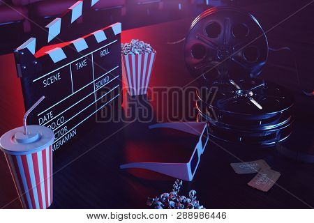 Cinema Movie Watching. Composition With 3d Glasses, Movie Clapper, Film Reel, Popcorn And Filmstrip.