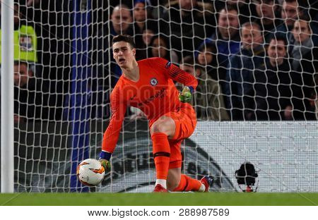 LONDON, ENGLAND - MARCH 7 2019: Kepa Arrizabalaga of Chelsea  during the Europa League match between Chelsea and Dynamo Kyiv at Stamford Bridge.
