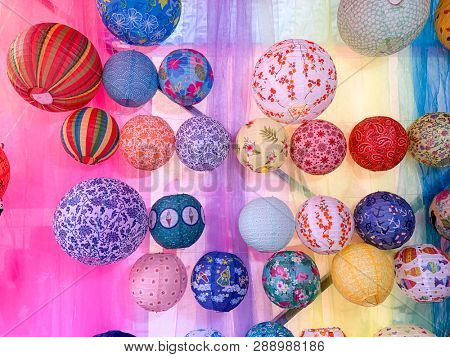 Traditional colorful sphere paper lanterns for sale,Fuzhou,Fujian,China