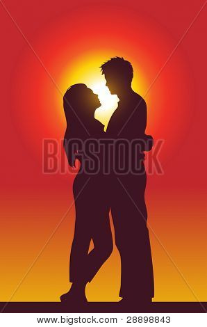 a happy couple holding each other, silhouette