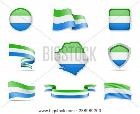 Sierra Leone Flags Collection. Vector Illustration Set Flags And Outline Of The Country.