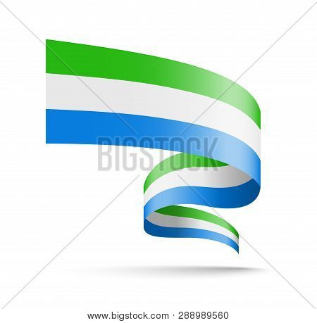 Sierra Leone Flag In The Form Of Wave Ribbon.